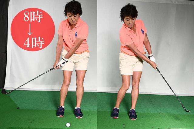 画像: 両腕とクラブが作る「y」の字をキープする。少し強めに握り、コックは使わず転がす感じで。35Yくらいまで