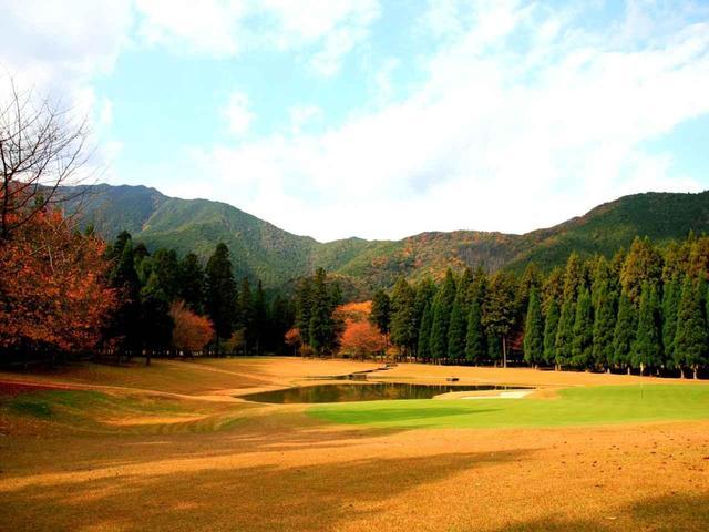 画像: 17番 175Y 池越えのパー3 紅葉最盛期には奥の山並みも黄金色に色づく