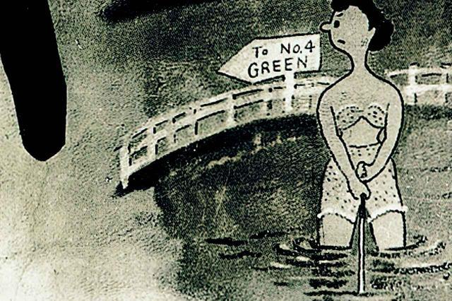 画像: 戦後は米軍に接収され、食堂の壁には漫画が描かれた