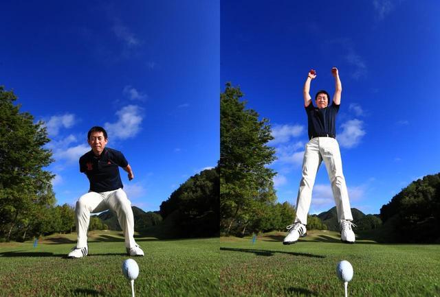 画像: 「スウィングは回転ではなくジャンプをイメージ。地面の力を使うことで、粘りが生まれやすくなります」