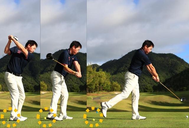 画像: 「まずは素振りからはじめましょう。今までとはボールと体の距離感やスウィングの感覚が変わるので、まずは慣れることから。右ひざが伸び、それによって生まれる粘りを体感できます」