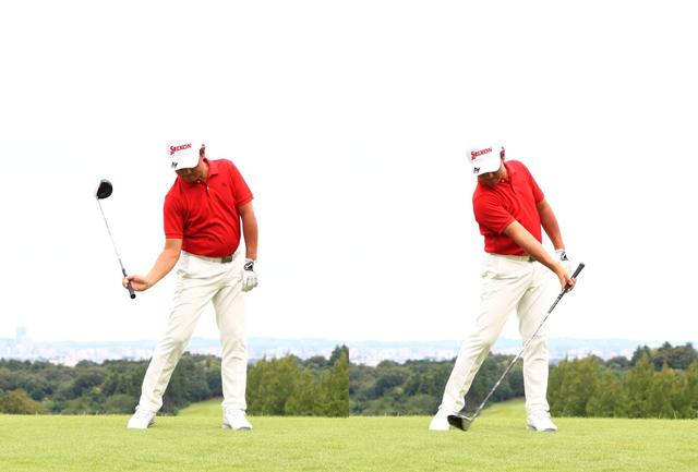 画像: 「右手をフィンガー(指)で握ると、ダウンで甲側に折れやすくなります。手元が先行してヘッドが遅れるのでハンドファーストになるんです」