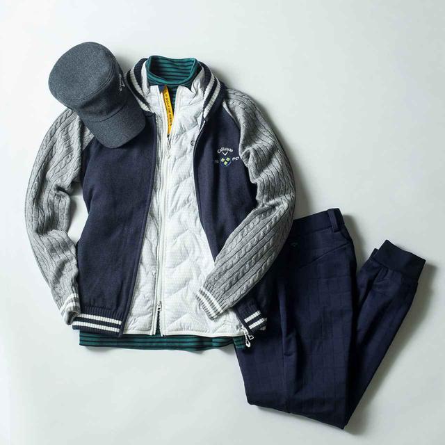 画像: 薄手の中綿入りベストなら、ブルゾンを上に羽織っても着ぶくれせず快適。長袖シャツ9000円、ブルゾン1万9000円、パンツ1万4000円、キャップ3900円