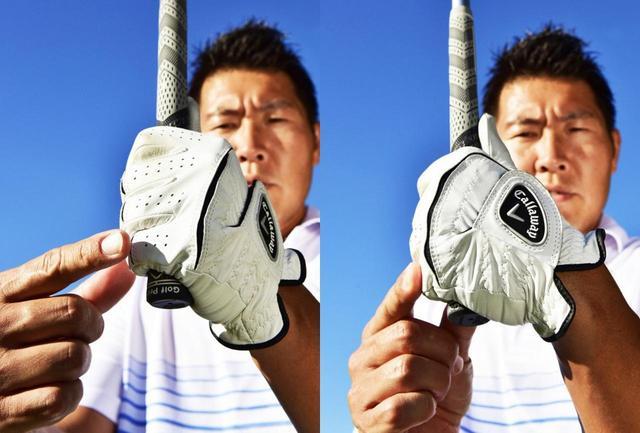 画像: 左手小指を手のひら側へ巻き込むと、フェース面が閉じるのでフェースにボールが乗せやすくなる