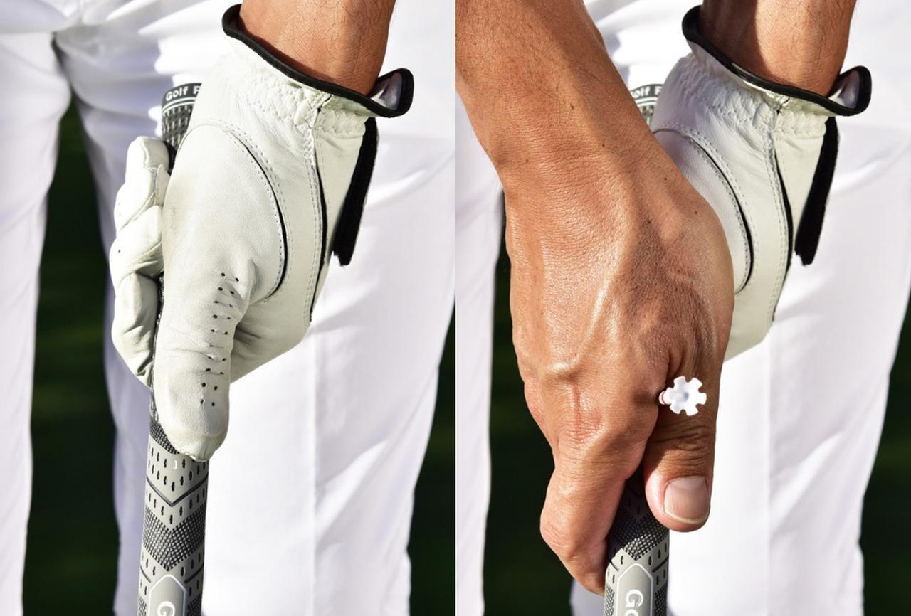 画像: 左手親指を真上に乗せグローブのロゴマークがターゲット方向を向くようにウィークに握る。右手親指と人差し指の隙間が正面を向くように、右手を上からしっかりかぶせて握る。あえてボールをつかまえにくい状態を作ることで、しっかりつかまえようとする意識が持てるようになる