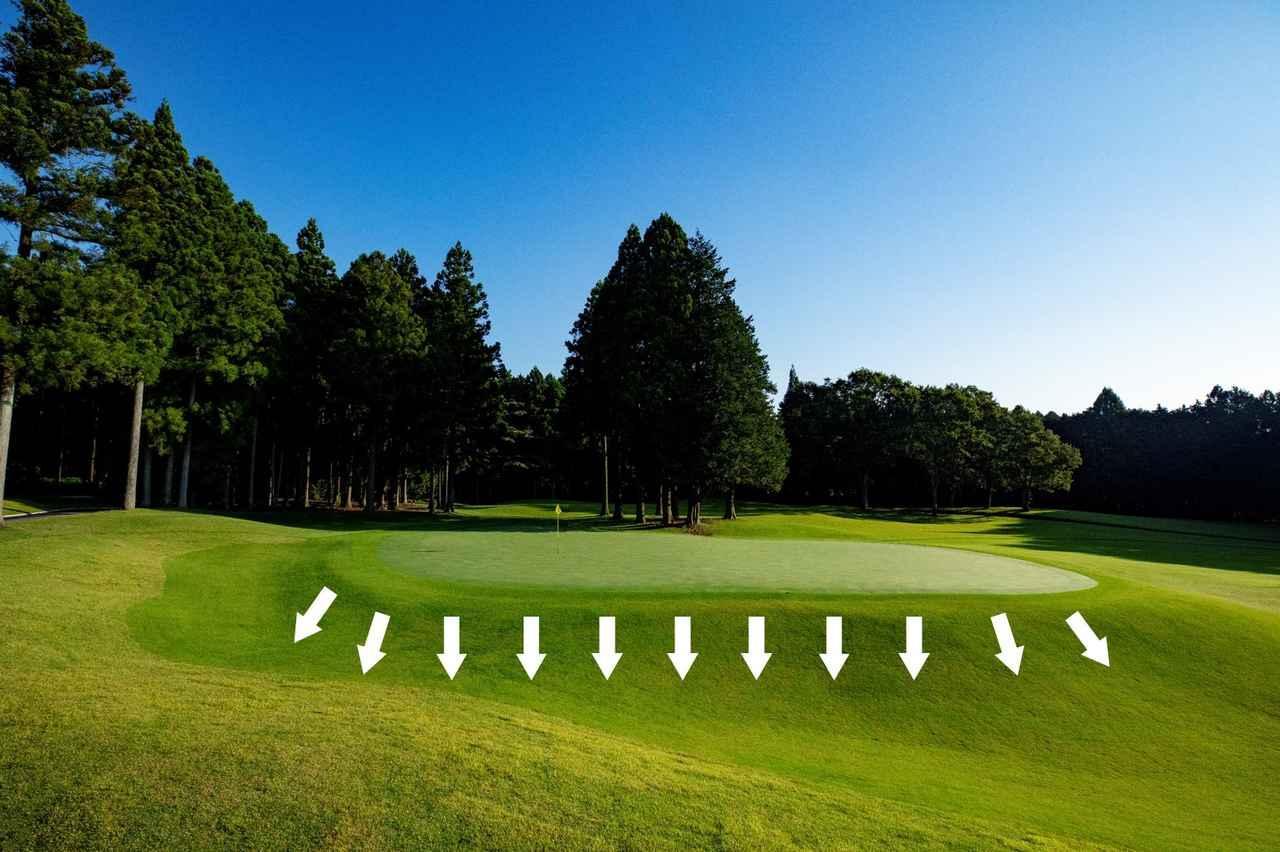 画像: 芝を刈り込んでハローを生むことで、ゴルフがよりエキサイティングになる。刈り高や刈り込みエリアを調整 できるので、「通常営業時」、「競技」、「トーナメント開催時」など、舞台に応じて難度を使い分けることが可能なシステムだ