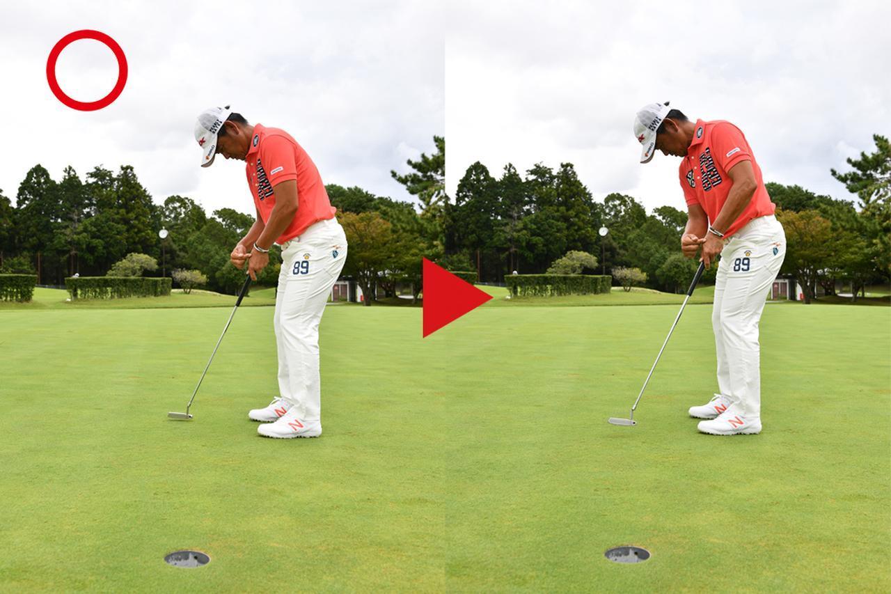 画像: ポイント 左手の角度をキープしたまま打つ