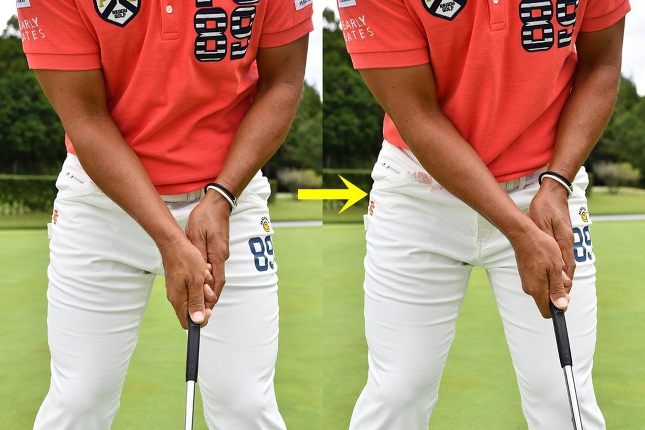 画像: 左手の甲がフェース面とスクェア(平行)になるようにグリップをする。体に近い左手の甲に意識を集中させることでカップに対する意識を消し、フェース面がズレることなくストロークができる
