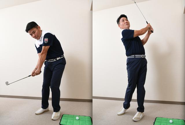 画像: 「重要なのはいかにゆっくり等速に振れるか。最初はクラブを握らずに、自分の手元がどこを通るのか意識して練習してみるといいよ」(丸山)