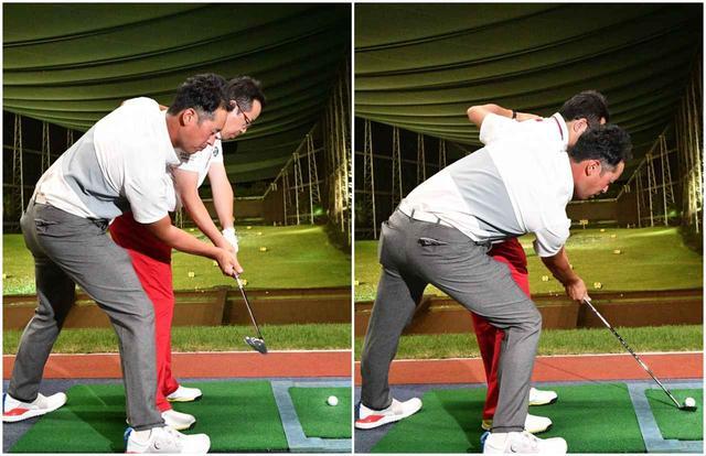 画像: 「右前腕を外側に回したらフェースは開きます。右ひじを曲げたままゆっくり振り抜くだけです」