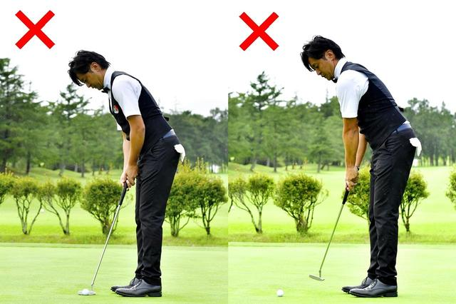 画像: (左)ボールが近いとアウトサイドインになりやすい (右)遠いとインサイドアウトになりやすい