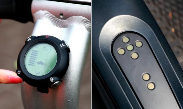 画像: 左下のスイッチを押すとオン、オンになるとステップ中央のライトが緑に光る。下りる時も左下のスイッチでオフに