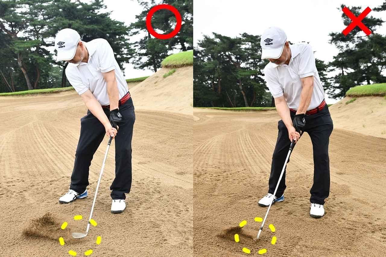 画像: 左)インから下ろすとヘッドが抜けて砂が薄く取れる、右)上から入れすぎるとヘッドは刃から入り潜る
