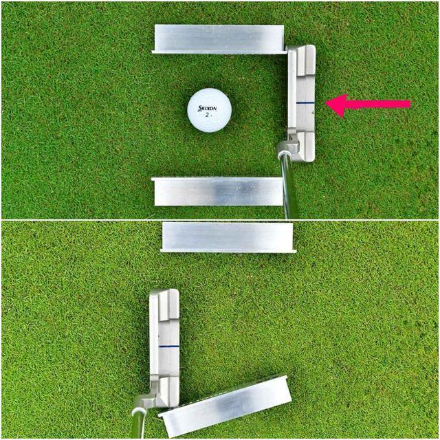 画像: (上)ダウンスウィングで外側のクランプに当たる(下)フォローでパターのヒールが手前のクランプをこする