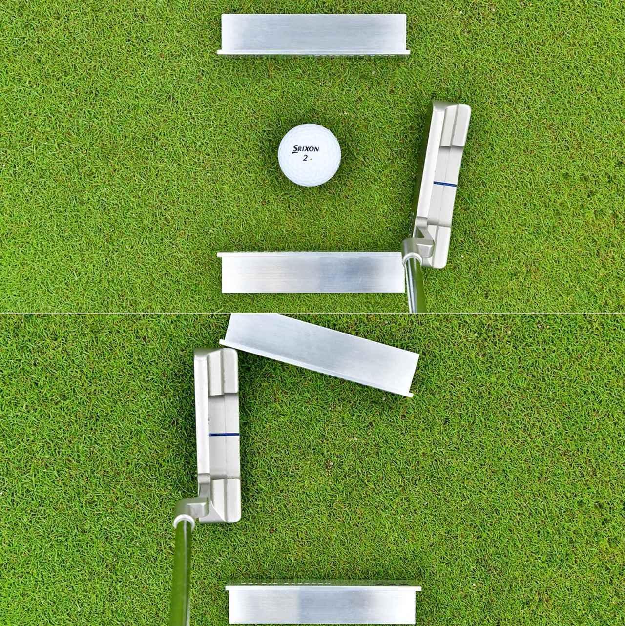 画像: (上)ダウンスウィングで手前のクランプにヒールが引っかかる (下)フォローで外側のクランプをこする