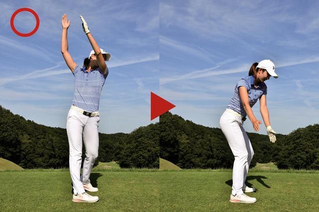 画像: タテ軌道だと、腕とクラブにかかる重力も手伝ってスピードアップしやすい