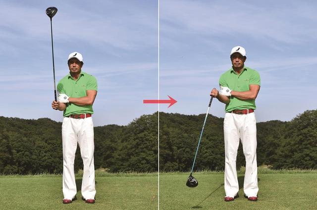 画像: わきを締めたまま、ヘッドが体のすぐ横を通るように回すのがポイント