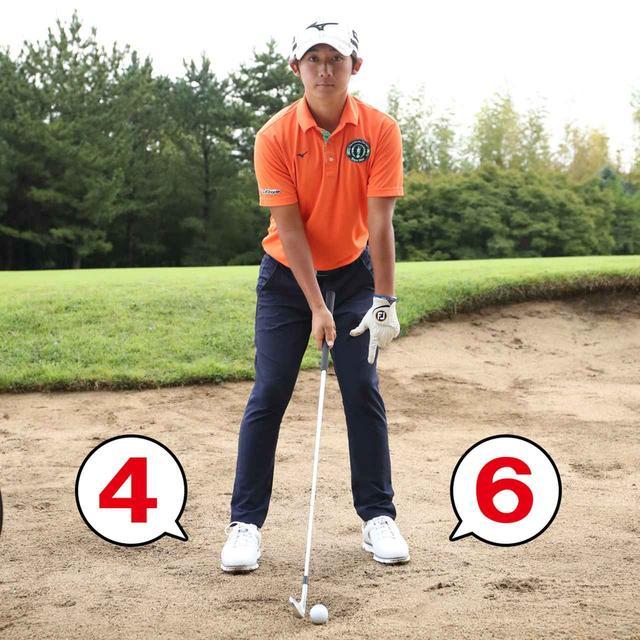 画像: 左足に6、右足に4の割合で左足体重にする