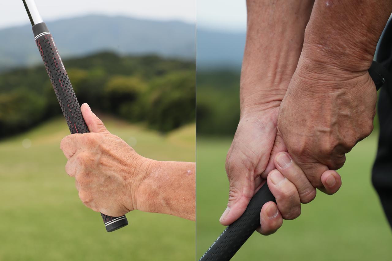 画像: 従来グリップ…従来型グリップは親指を伸ばすため、指の負担が大きく左親指付け根の亜脱臼などの故障の原因に。親指が動きスウィングもブレやすい