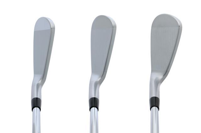 画像: 左から5番、7番、9番。ストレートに近いネック形状でスクェアに構えやすく、ラインを出しやすい