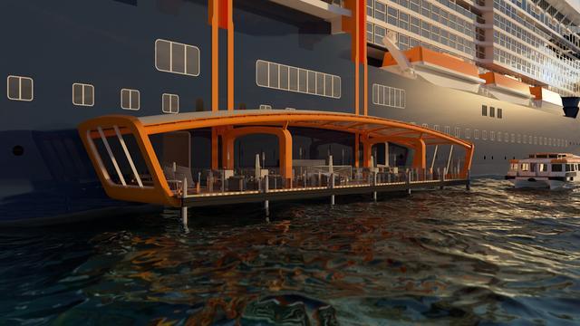 画像: 可動式デッキ「マジックカーペット」業界で初めて船体の片側に大きく突き出た全長30mの可動式オープンデッキ。各階によって用途を変える。
