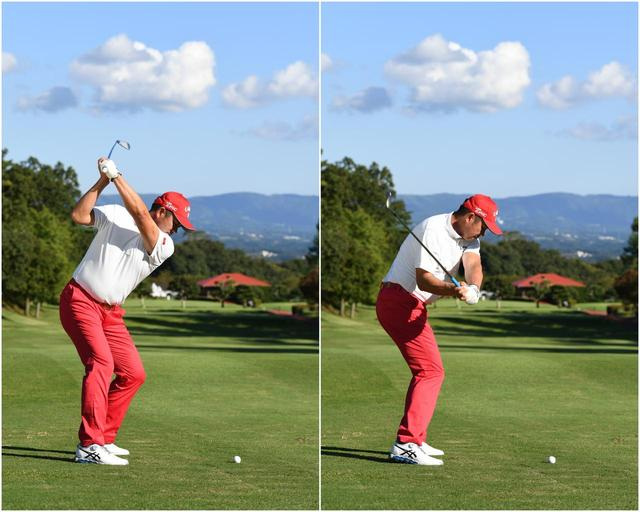 画像: 右手のひらを下に向けるようにダウン