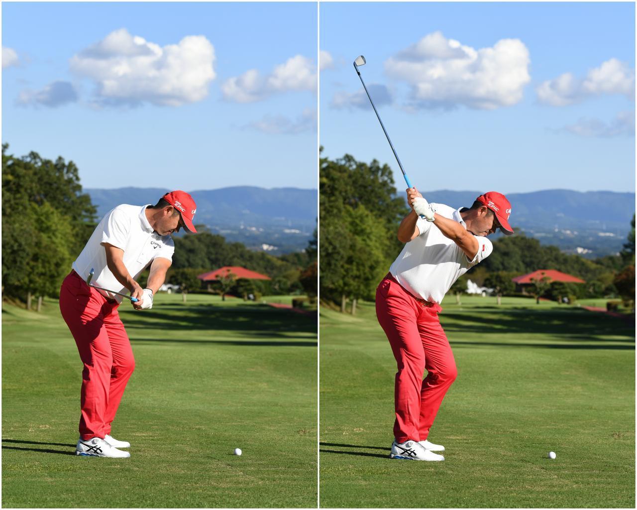 画像: 左足をヒールアップするぐらい右に体重を乗せる