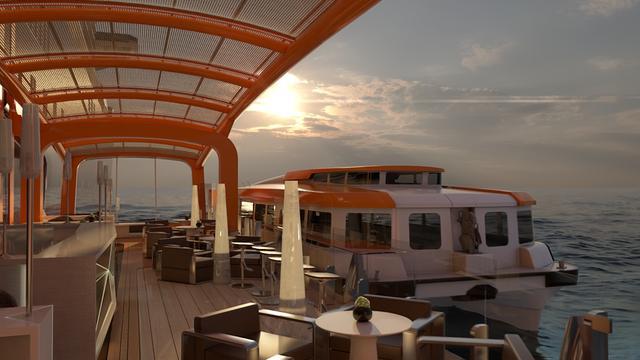 画像: 「マジックカーペット」はラウンジやレストラン、テンダーボートへ乗り降りするステーションとしても活用。