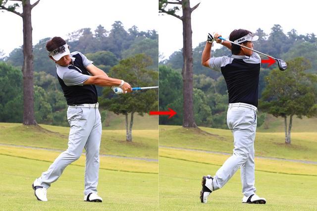 画像: 「トップからダウンスウィングにかけて右肩をターゲット方向に向けていこう。体がスムーズに回転し、肩を入 れ替えやすくなります。スウィング中は、腰の回転を意識する必要はありません。肩を回せば、腰は同調して回転します」