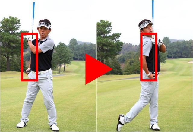 画像: 「ダウンスウィング以降は右肩と右腰の傾きを変えないように肩を水平に回す意識を持ちましょう。フィニッシュまでスムーズに肩が回ります」