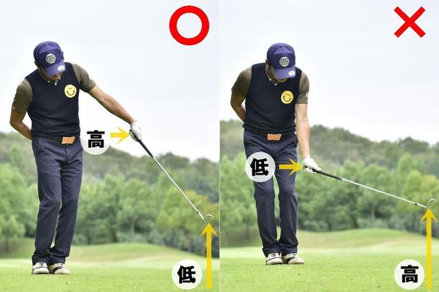 画像: 〇手を高く、ヘッドを低く出すのが正しいフォロースルーのイメージ ✖手を低く、ヘッドを高く出すようなフォロースルーがザックリを招く