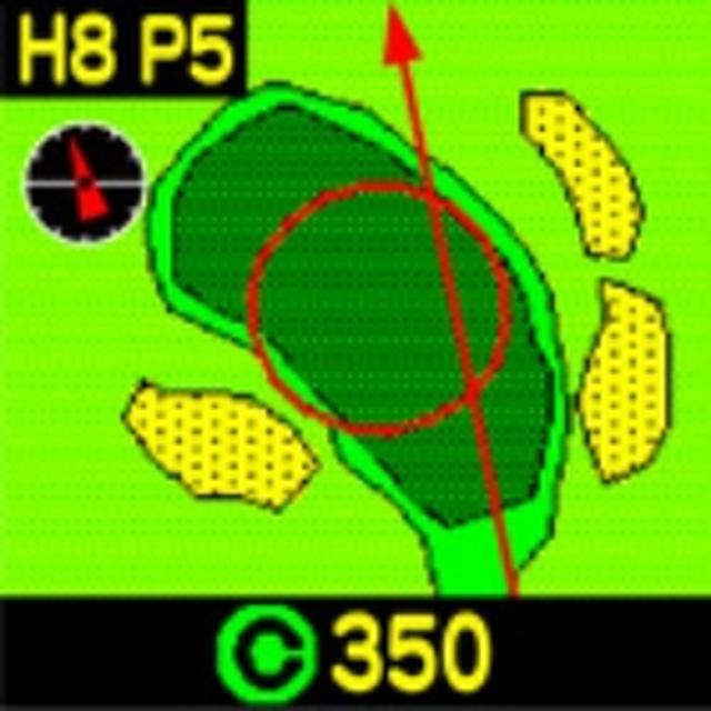 画像: グリーンの形状やグリーン周りのガードバンカーの位置、グリーンセンターから10ヤードの同心円を表示