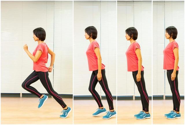 画像: 【正しいランニングフォーム】「腰を前へ突き出すイメージで自然に前へ倒れる意識(右から2コマ目)で走りだす姿勢をキープ。走りだしたら視線は足元ではなく遠くの前方に向けましょう(4コマ目)」(白木先生)