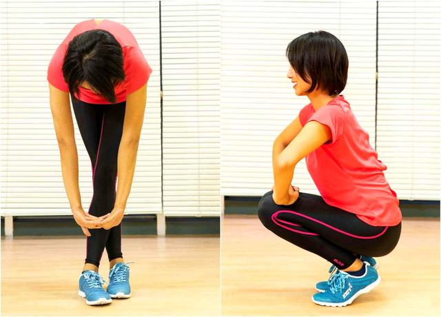 画像: 前屈運動で腰への負担を軽減。屈伸を念入りに行うことで最も大きなひざの負担を軽減
