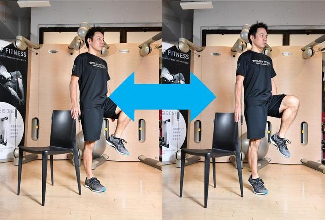 画像: 【片足立ち かかと上げ下げ】椅子などに手をかけ、かかとを上げ下げ。左右10回ずつ