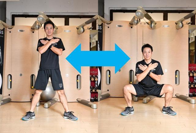 画像: 【ワイドスタンス スクワット】肩幅の2倍くらい足を開いて、ゆっくり腰を下ろす。10回