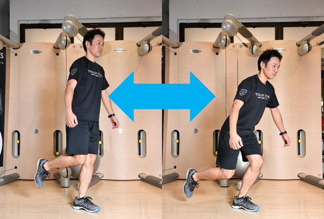 画像: 【片足スクワット】片足で立ち、ゆっくり腰を落とす。左右10回ずつ