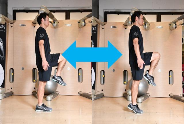 画像: 【片足立ち かかと上げ下げ】片足で立ち、かかとの上げ下げを繰り返す。左右10回ずつ