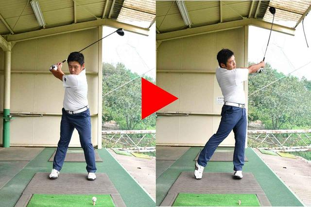 画像: コンパクトなトップから体の回転主体でボールを打つ。フォローは右腕が地面と平行になるところで止める。腕を無理に返さなくても、ボールがつかまることがわかる。砂田さんはナイスショットを連発