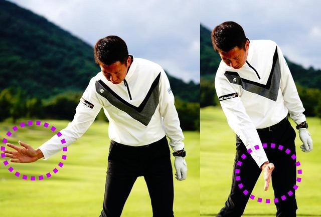 画像: 右手のひらをフェース面だとイメージしながら右腕をリリースすることで、強く押し込めるインパクトが作れる