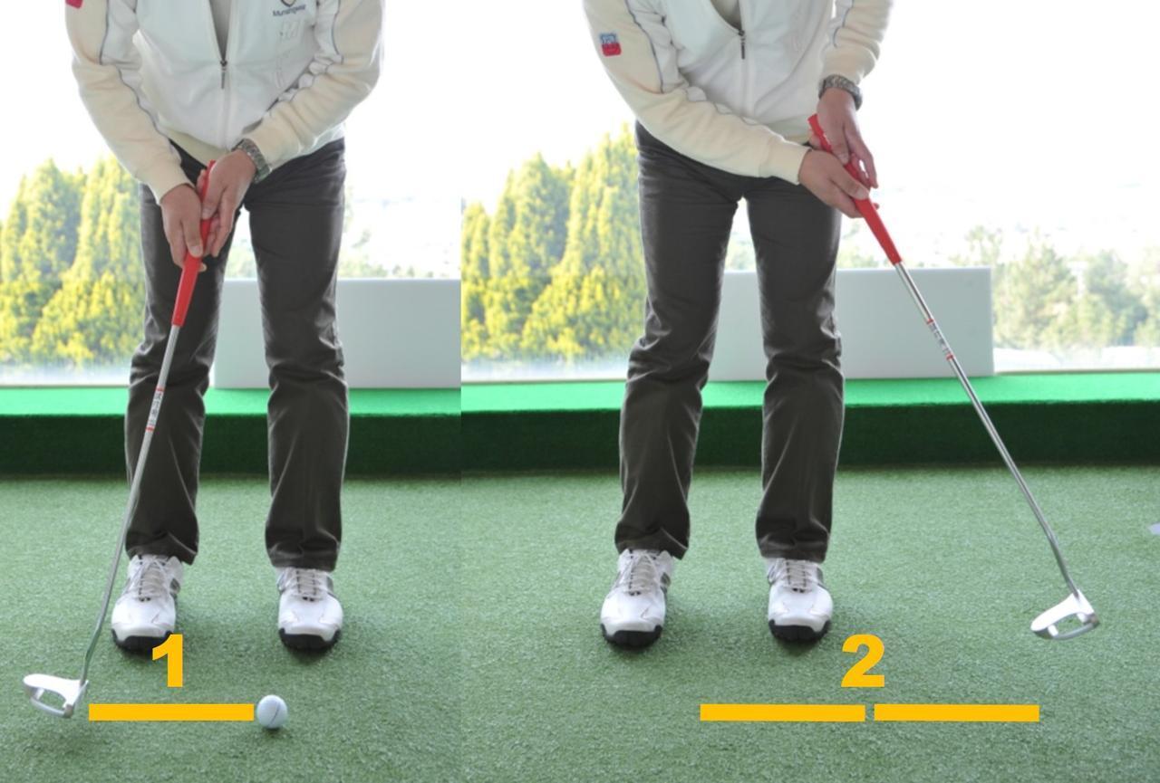 画像: ディンプルの影響を抑えられるストロークは、テークバック「1」にフォローが「2」