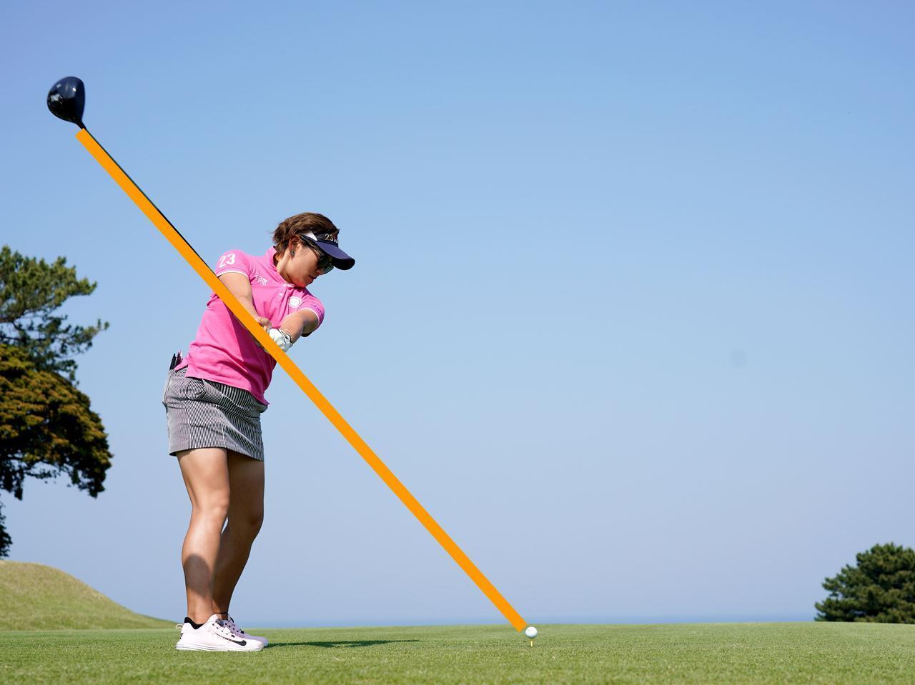 画像: シャフトの傾きがボールを指すシンプルなプレーン