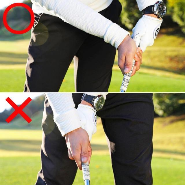 画像: ハンドファーストに当てるとロフト(フェース面)は立ちながらボールにヒットする。これが低スピンになる当たり方。コックがほどけると、ロフトが増えてボールが高く上がってしまう