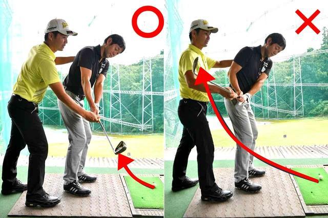 画像: スウィングのスタートと同時に、手を背中側(インサイド)に引いてしまうので、右ひじが引けた状態になる。 そこからは、ただ手を真上に上げるだけになり、体幹による体の捻転が一切、起こらない