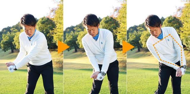 画像: 左ひじを曲げた状態でインパクトすると左手の甲が地面を向いているはず。これを三角形の腕でやろうとするとヘッドが遅れて面が戻りきらない