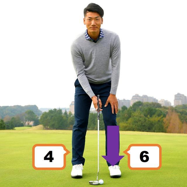 画像: 【ポイント2】「アドレスの体重配分は左足6:右足4。左足に多めに体重を乗せることでフォローで胸を目標に向けやすくします。すると体幹を使ったストロークになり、フェースの芯でとらえやすくなります」
