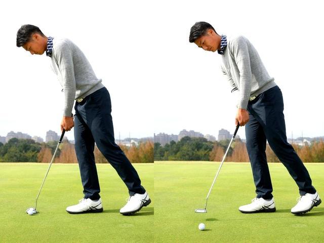 画像: 【ドリル2】「片足打ち練習。右打ちの人なら左足を上げてストローク。フォローでヘッドをスムーズに出せるので胸も目標に向けやすくなります。片足だとグラつく人は、『お先に』を打つカタチでやってみてください」
