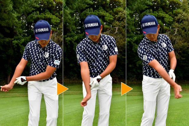 画像: ヘッドを低く出すには、インパクト後も右手首をリリースせずに、ハンドファーストのまま、ボールを運ぶイメージが必要