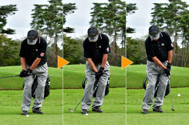 画像: 右手でボールを「押し込む」アプローチは、ジャンボの専売特許。グースネックのウェッジがこの技にはぴったり