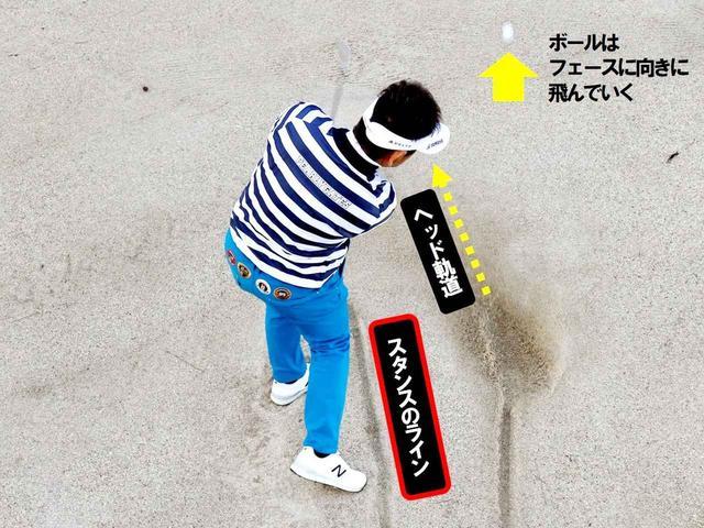 画像: 【砂の取れた跡がスタンスと合致する】「スクェアに振っている」と言うとおり、藤田プロのインパクトを見ると一目瞭然。エッジからではなくバウンスで砂を打っているいるので深さも、砂の飛散量も適度だ